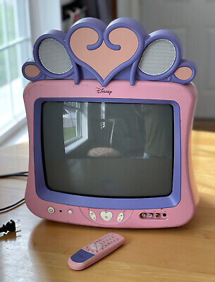 Disney Princess Pink 13 CRT TV Retro Gaming with REMOTE Works great