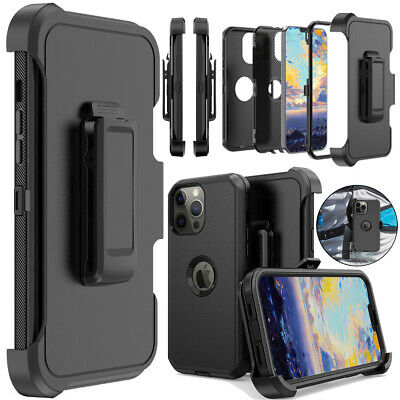 For iPhone 11 12 13 Pro Max XR Shockproof Case Rugged Hard Cover-Stand Belt Clip