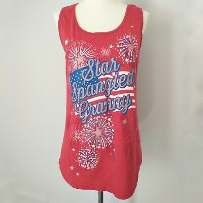 Womens Graphic Tank Top T Shirt Popover Blouse Star Spangled Granny 4th of July