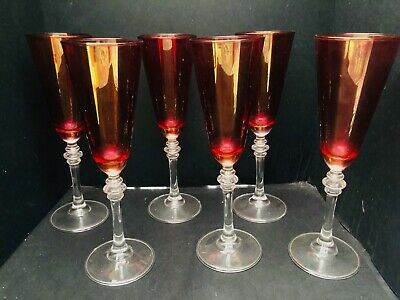 6 Cranberry Glass Champagne Wine Glasses Goblets 8-75 Tall Clear Stems VGC