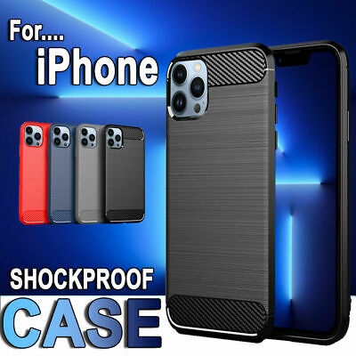 For Apple iPhone 13/13 Mini/13 Pro/13 Pro Max Shockproof Carbon Fiber Case Cover