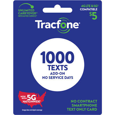 TracFone 5 Text Add–On Card 1000 TXT Email Delivery