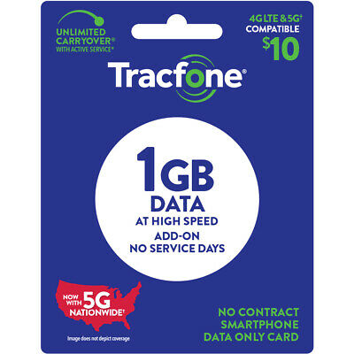 TracFone 10 Data Add–On Card 1GB Email Delivery