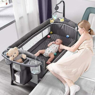 ADOVEL Baby Bassinet Bedside Crib, Pack and Play with Mattress, Diaper Changer a