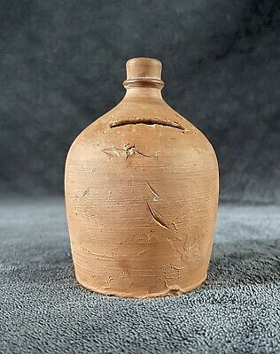 RARE 19th Century Antique Beehive Form Redware Pottery Coin Money Bank