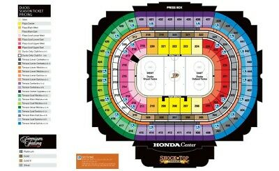 Anaheim Ducks vs Montreal Oct 31 Club Level Front Row 2 tickets 40 food credit