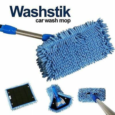 Car Truck RV Boat Washstik Microfiber Mop Wash Stik Kit Telescopic Pole w Cover