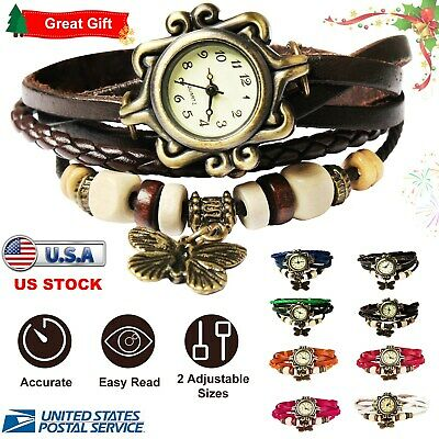 Womens Ladies Fashion Boho-Chic Handmade Leather Bracelet Watch Butterfly Gift