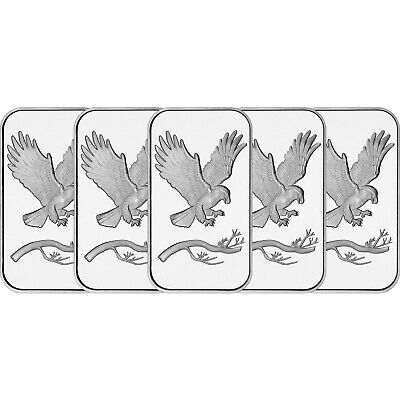 Trademark Bald Eagle 1oz -999 Fine Silver Bars by SilverTowne LOT OF 5