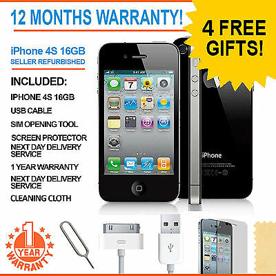 Apple iPhone 4S - 16 GB - Black Factory Unlocked Smartphone