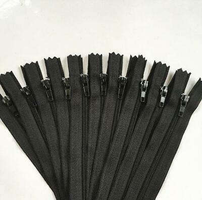 20pcs Black  Nylon Coil Zippers Tailor Sewer Craft 9 Inch Crafters -FGDQRS