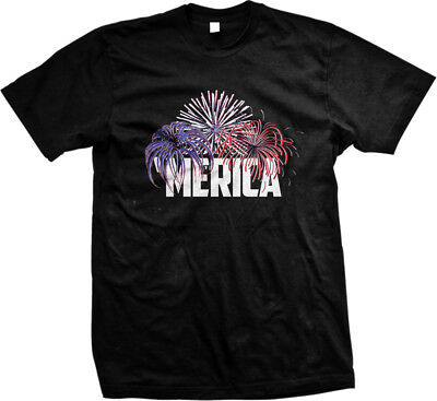 MERICA- Fireworks-Happy Fourth of July America USA Sayings Mens T-shirt