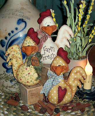 Pattis Ratties Primitive Country Chicken Ornies Bowl Fillers Paper Pattern 331