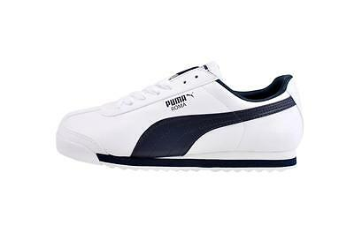 PUMA Roma Basic Shoes Classic Leather White Navy Blue Men Sneakers 353572-12
