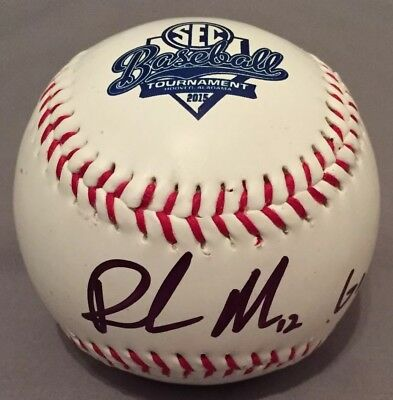Richie Martin SIGNED 2015 SEC Tournament Logo Baseball AUTO COA Florida Gators
