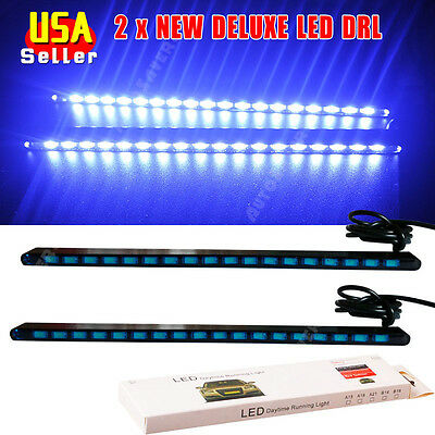 2x 2016 NEW Ultra Blue DELUXE 5630 18-SMD LED Light Car COB DRL Fog Driving Lamp