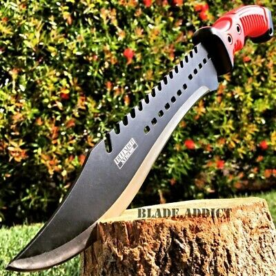 16 TACTICAL HUNTING SURVIVAL RAMBO MACHETE FIXED BLADE KNIFE Axe Sword Army