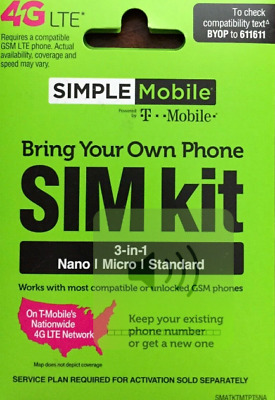 SIMPLE MOBILE 4G LTE SIM CARD OPERATES ON THE T-MOBILE NETWORK ONE SIZE FITS ALL