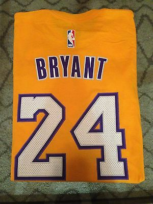 Kobe Bryant 24 Lakers NWT Adidas Net Number T-SHIRT NBA NEW Gold