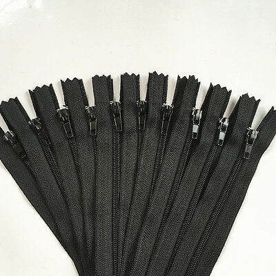 10pcs 30cm(12Inch) Nylon Coil Zippers Tailor Sewer Craft Crafters -FGDQRS Black