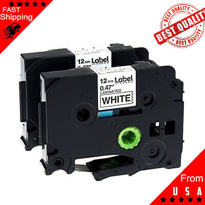 2PK Black on White Label Tape TZ231 TZe231 12mm 12 8m for Brother P-Touch