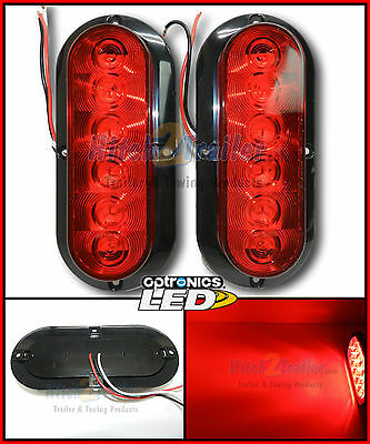2- Trailer truck Red LED Surface Mount 6 Oval Stop Turn Tail Light Sealed FLEET