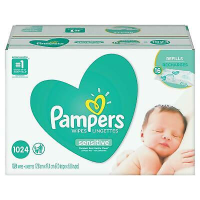 PAMPERS Sensitive Baby Wipes 1024ct-FREE SHIPPING - PERFUME FREE NO SALES TAX