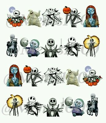 Halloween Nail art Decals Water decals Jack and Sally Nail Decals
