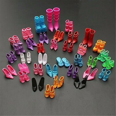 120 Pcs 60Pair Doll Outfit Dress Fashion Clothes Shoes Heels Sandals For Barbie