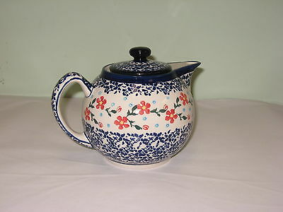 Polish Pottery  Teapot 4 Cups - Red Posies