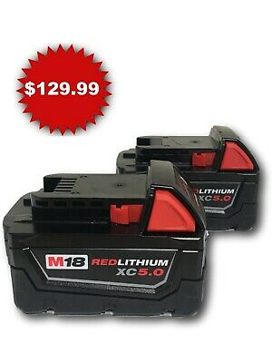 Qty 2 Milwaukee M18 Red Lithium XC 5-0 AH Extended Capacity Battery 48-11-1852