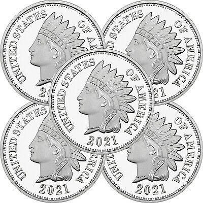 2018 Indian Head Cent  1oz -999 Silver Medallion LOT OF 5