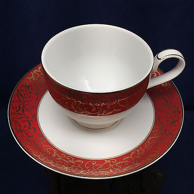 Mikasa Parchment Red Footed Cup and Saucer 2-75 in- Red Band Gold Scrolls L3471