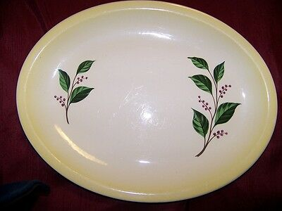 Paden City Oval Serving Platter H-54 14 X 10-75 Grn LeavesRed Berries Ex Cond