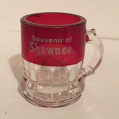 Ruby Flashed Souvenier of Shawnee- 2 High Mug Excellent Condition