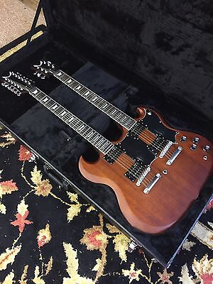DEAN Gran Sport Double Neck electric GUITAR w CASE - Worn Brown