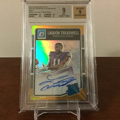 2016 Optic Football Laquon Treadwell Gold Refractor RC 10 BGS 99