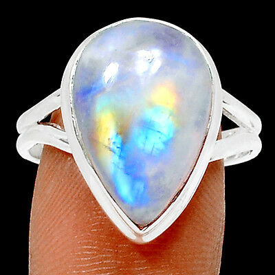 Rainbow Moonstone 925 Sterling Silver Ring Jewelry s-10 RR29421