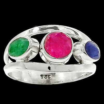 Ruby Emerald Sapphire 925 Sterling Silver Ring Jewelry s-8 RR23661