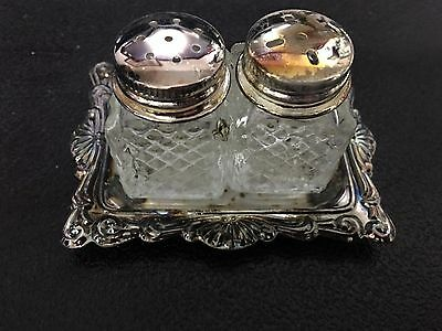 Pair of Vintage Mini Crystal and Silver Plate Salt and Pepper shakers