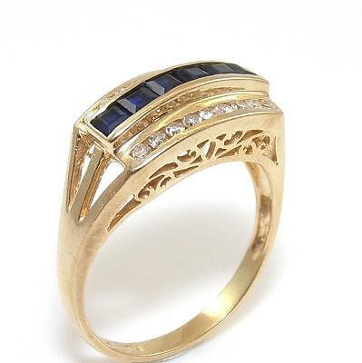 14K Yellow Gold Natural Diamond Blue Sapphire Ring Size 7
