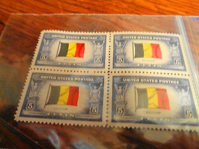 4 BLOCK U-S- BELGIUM STAMPS PACKAGED SINCE NEW MNH COND-