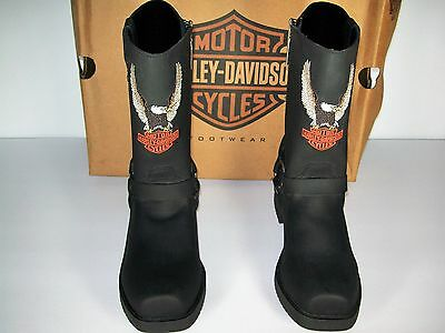 Harley Davidson Womens Size 5 Medium Harness Black Suede Leather Boots