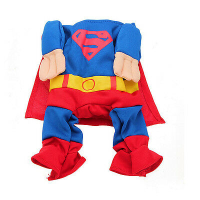 New Funny Puppy Pet Cat Dog Superman Costumes Clothes Apparel T Shirt Size S