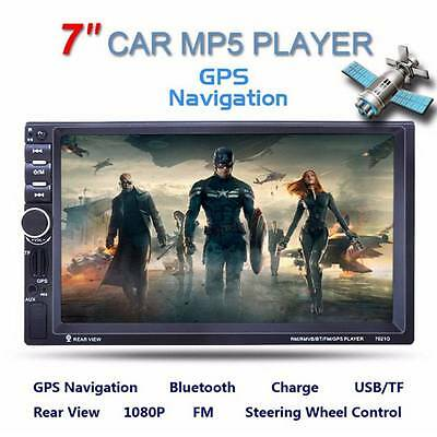 7 HD GPS Navigation 2Din Car Player FMMP5MP3AUX Bluetooth Radio iPod-Camera