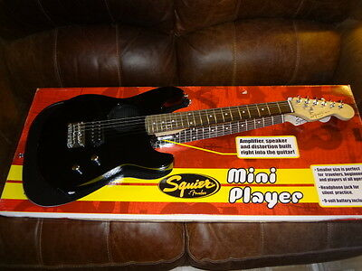 Squier MINI Strat Electric Guitar by Fender Black with built in amp - speaker