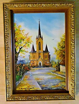 Framed Original Oil Painting of a Church  Cathedral Signed by the Artist