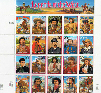 US Stamp Legends of the West Sheet of 20 Stamps