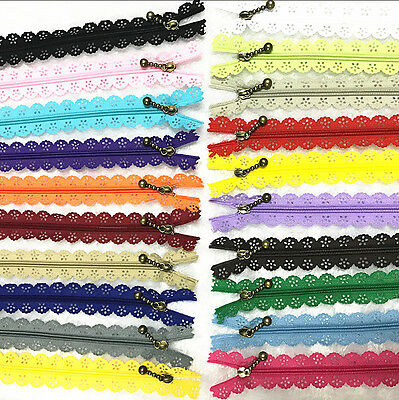 10Pcs 12inch Lace Closed End Zippers 3 Nylon For Purse Bags Multicolor Sewing