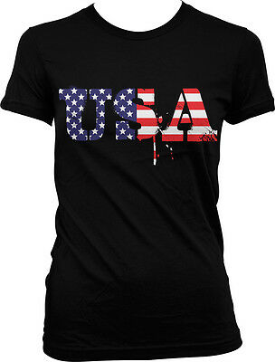 Dripping USA Lettering - Red White - Blue 4th of July  Juniors T-shirt